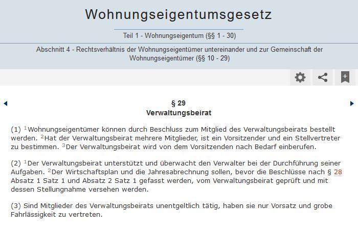 § 29 Aufgaben des Verwaltungsbeirats nach Reform WEG-Gesetz