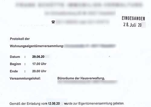 weg-hausverwalter: protokoll zu spät zugesendet!, Einladung